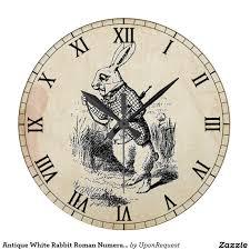 antique white rabbit roman numeral wall clock via zazzle home