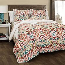 Tangerine Home Decor Amazon Com Lush Decor 16t000187 Clara 3 Piece Quilt Set King