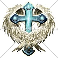 cross with wings production ready artwork for t shirt printing