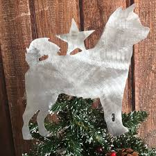 shiba inu dog tree topper holiday decoration wreath