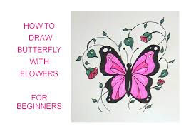 how to draw a butterfly with flowers easy version for beginners