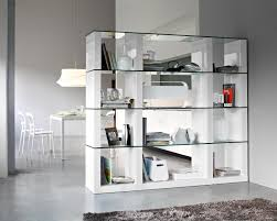 moveable white glass door bookcase for home office storage corner