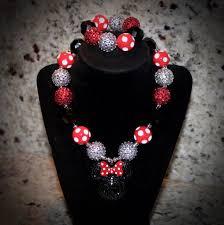 rhinestone necklace bracelet images Disney minnie mouse rhinestone pendant necklace bracelet set for jpg