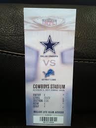 dallas cowboys vs eagles thanksgiving ticket stubs dallas cowboys vs detroit lions