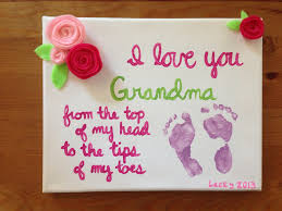 baby footprint gift for grandma hand made felt flowers and