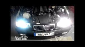 nissan 350z xenon ballast 35w vs 55w hid color effect difference youtube