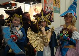 file cosplayers of yugi mutou and dark magician yu gi oh at