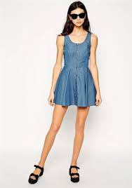 light blue plain single breasted sleeveless denim mini dress