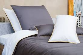 bed linen white grey yellow made from fine mako cotton