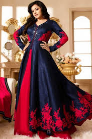 party wear gowns buy blue and silk woven indian anarkali party wear