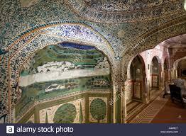 india rajasthan samode palace near jaipur decorative wall painting