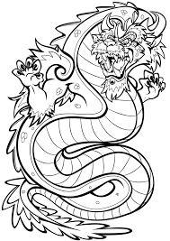 asian style dragon colouring in page by darkly shaded shadow on