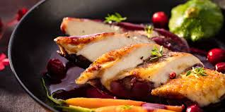 cuisine chapon roti chapon farci rôti purée de panais au lard et oignons caramélisés