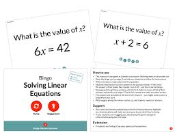 solving linear equations bingo