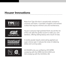 houzer 2522 8bs3 1 glowtone series topmount stainless steel 3 hole