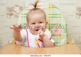 High Chair That Sits On Chair Baby Sitting In Highchair Stock Photos U0026 Baby Sitting In
