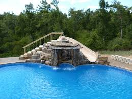 waterfalls for inground pools built in swimming pool slides custom waterfall and slide all rock