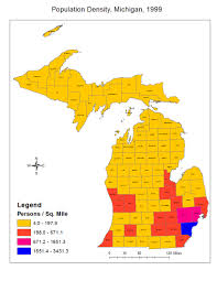 Map Of Lower Michigan by Human Geosciences Blog Population Density Maps