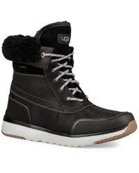 lyst ugg uptown emalie leather wedge boots in black ugg uptown emalie leather wedge boots in black lyst