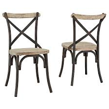 Edison Bistro Table Reclaimed Wood Industrial Metal Dining Chairs Set Of 2 Brown