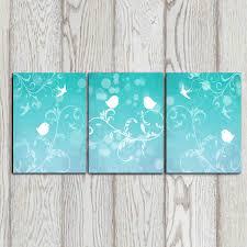 set of 3 bird art prints turquoise wall decor bedroom decor zoom