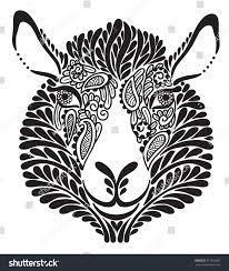 abstract ornamental sheep vector black white stock vector
