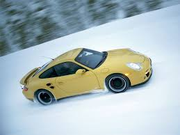 porsche snow photo porsche 911 turbo yellw snow driving