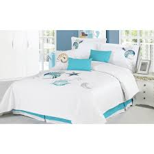 Beachy Comforters Awesome Light Blue And White Beach Themed Comforters In Bright