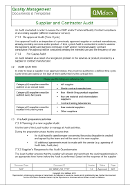 gmp audit report template supplier and contractor audit