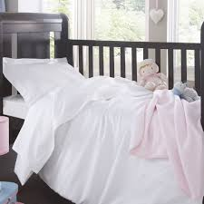 Cot Bed Duvet Cover Boys Childrens Plain White Bed Linen
