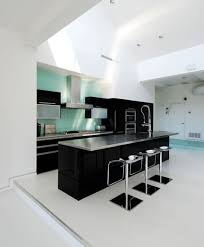 mid century kitchen design in black and white color ideas black