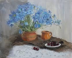 cherry home decor bouquet blue flowers original oil still life painting