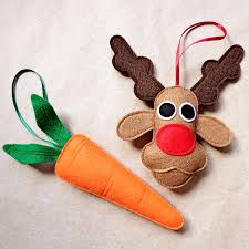 rudolph and carrot felt christmas decoration set by be good