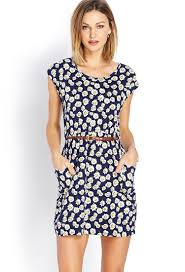 forever 21 darling daisy dress w belt in blue lyst