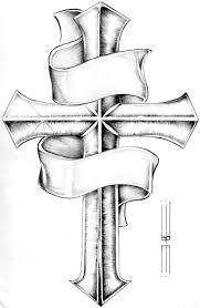 drawn cross tatto pencil and in color drawn cross tatto