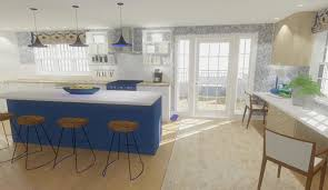 white kitchen cabinets with blue island collin s award winning kitchen uses color to evoke