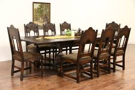Antique Dining Room Table Chairs Sold English Tudor Carved Oak 1925 Antique Dining Set Table U0026 8