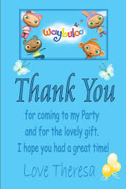 kids thank you cards personalised waybuloo thank you cards