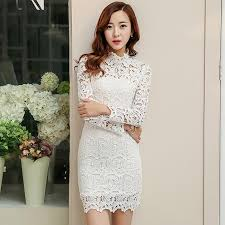 white lace dress wholesale 2015 new fashion white lace dress women turtleneck
