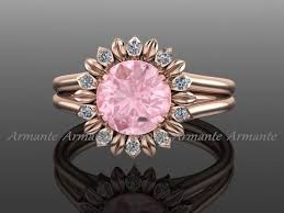 sunflower engagement ring ring gold and morganite wedding ring