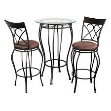 Pub Table Set Fancy Glass Top 3 Piece Pub Table Set Walmart Com