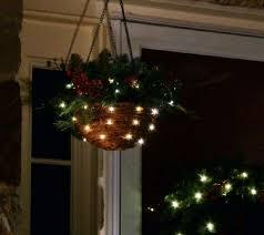 christmas hanging baskets with lights bethlehem lights battery op mixed pine jingle bell hanging basket