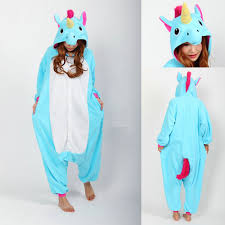blue unicorn cartoon onesies pajama kigurumi costume long sleeves