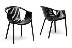 White Plastic Kitchen Chairs - baxton studio grafton black plastic stackable modern dining chair