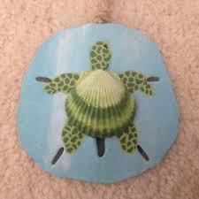 sea turtle honu hand painted sand dollar ornament beach