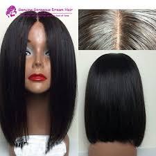 is island medium hair a wig middle part human hair short bob wigs for black women glueless lace