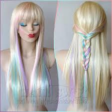blonde pastel color highlights rainbow wig fairy princess wig
