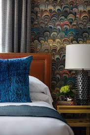 multi color walls bedroom transitional with table lamp strippable