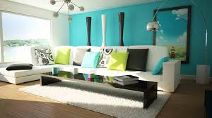 living room living room blue theme decoration wooden floor mixed