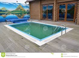 Outdoor Swimming Pool by Outdoor Sauna Stock Photo Image 25627330